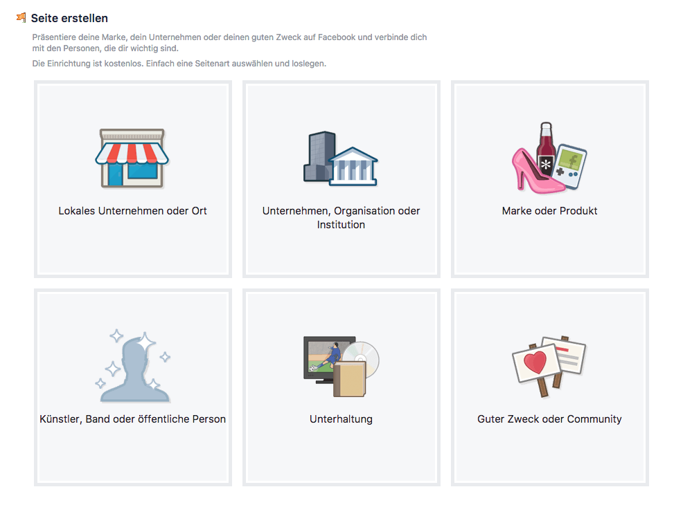 Screenshot von Facebook Option Seitenart