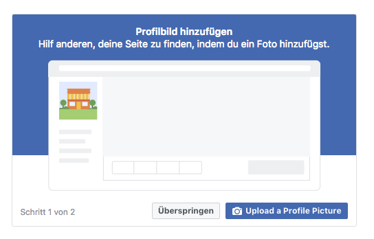 Screenshot von Facebook Option Profilbild hochladen