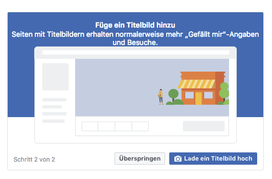 Screenshot von Facebook Option Titelbild hochladen