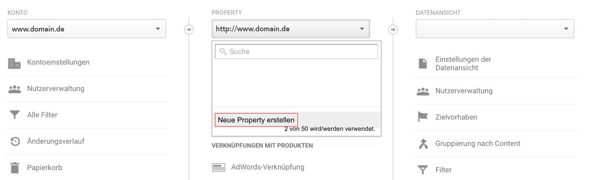 Screenshot von Google Analytics - wie du eine neue Property erstellst