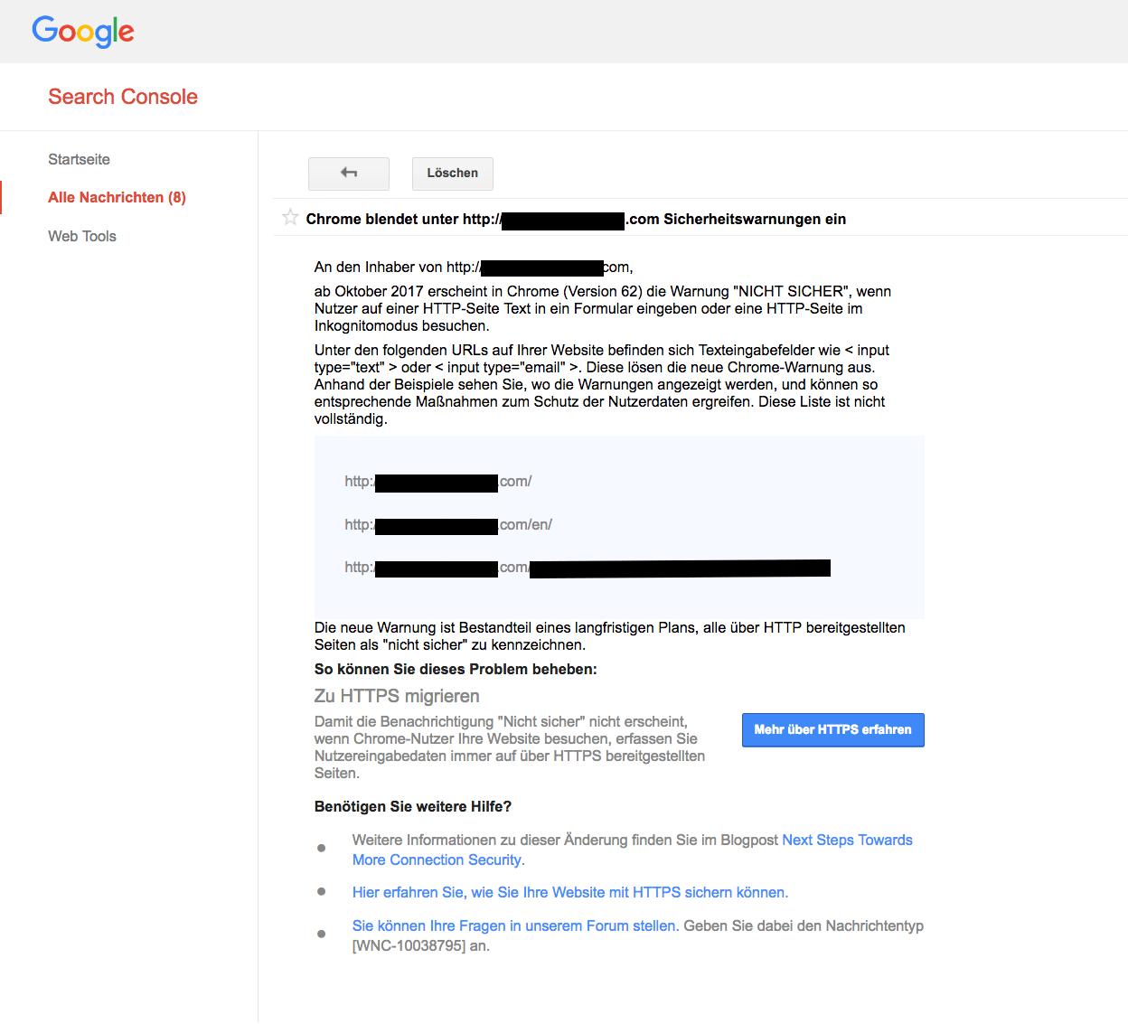 Screenshot Nachricht in Google Search Console Umstellung auf HTTPS
