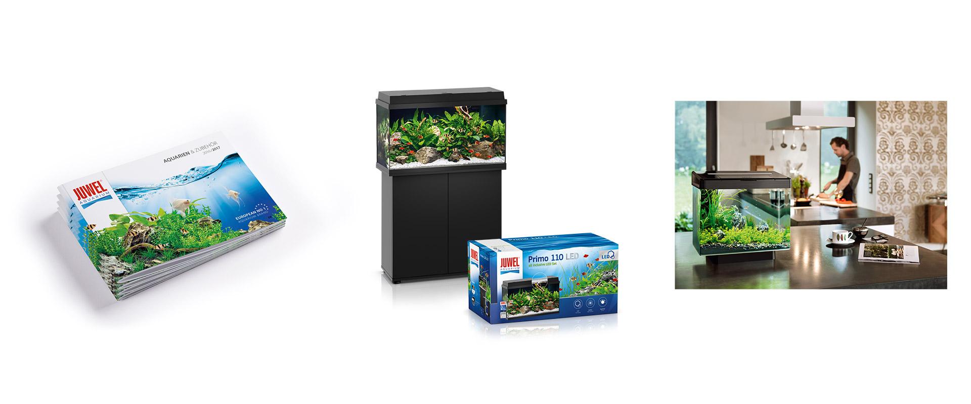 Markenprofil für Juwel Aquarium bestehend aus Grafik, Print, Packaging und Fotos. Umgesetzt von Redeleit und Junker