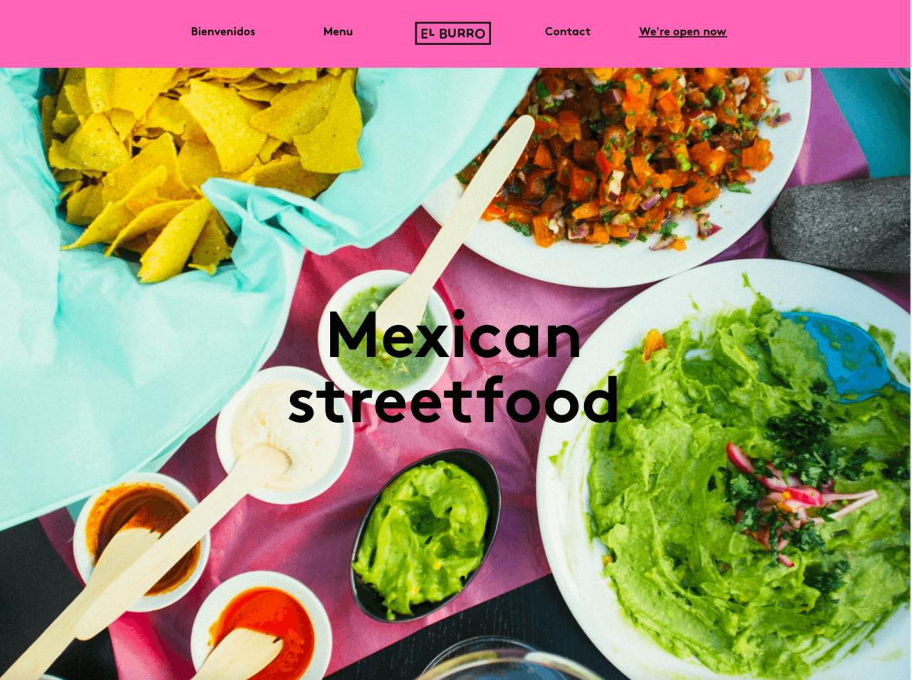 Design Website El burro Menu Restaurant geöffnet