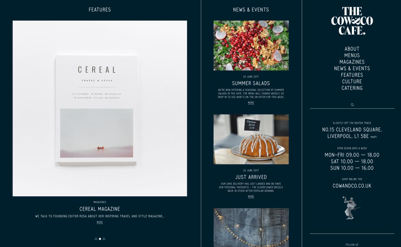 Webdesigen Restaurant , Bistro The Cow and co Bistro im Blogdesign