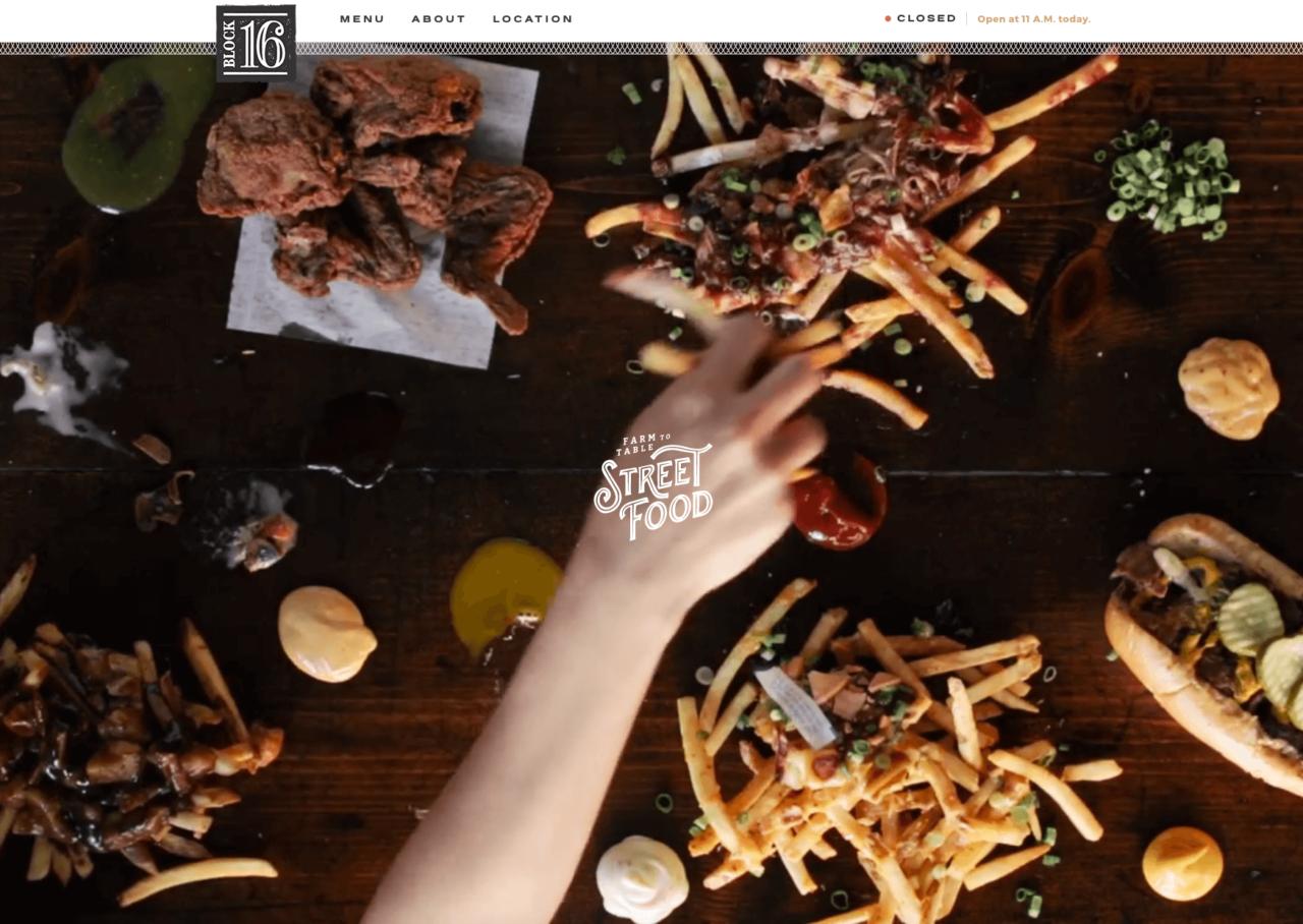 Webdesign Restaurant Block16 mit Videoheader