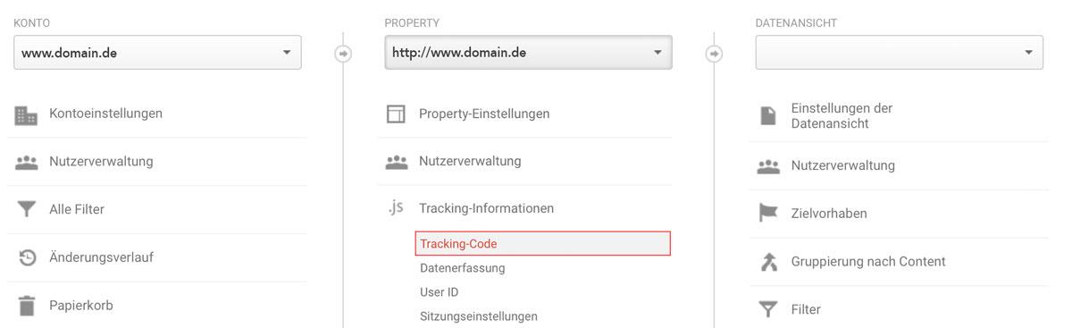 Screenshot von Google Analytics - wie du dir deinen Tracking Code Anzeigen lässt