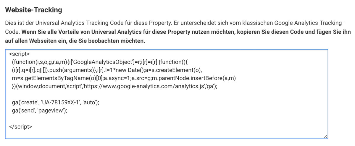 Screenshot Google Analytics - So sieht dein Tracking Code aus