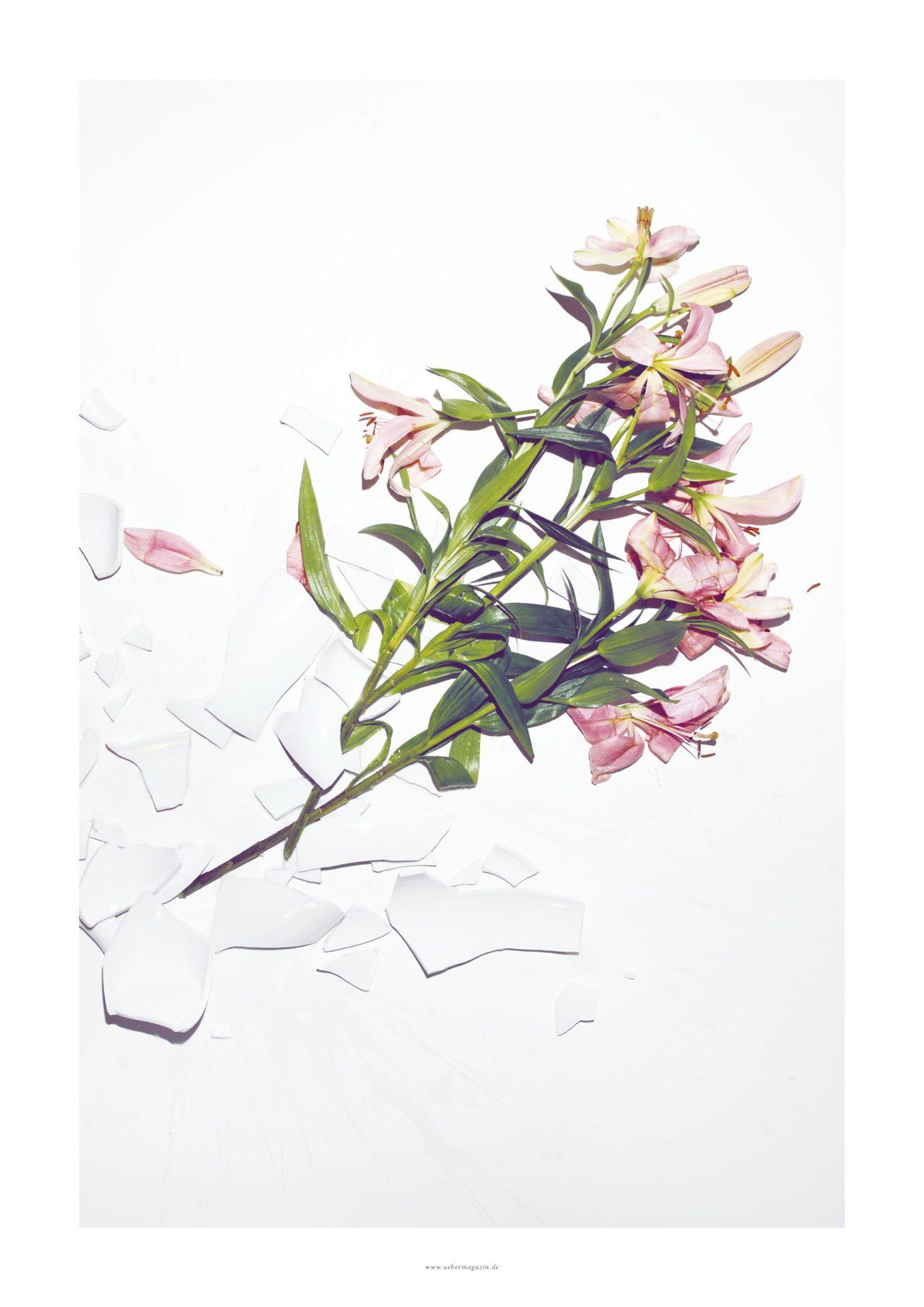 """Poster Hochformat vom ÜBER Magazin """"Poster zerbrochene Vase"""" mit Blumen und zerbrochener Blume auf weissem Boden"""