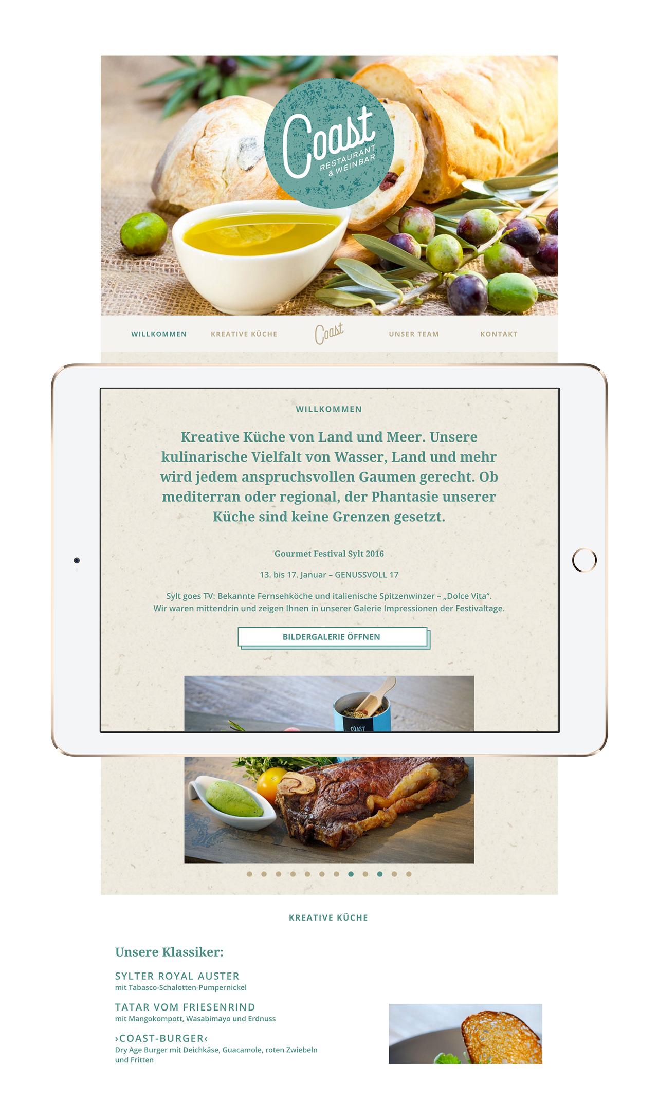 Mobile Website des Restaurant Coast auf einem iPad