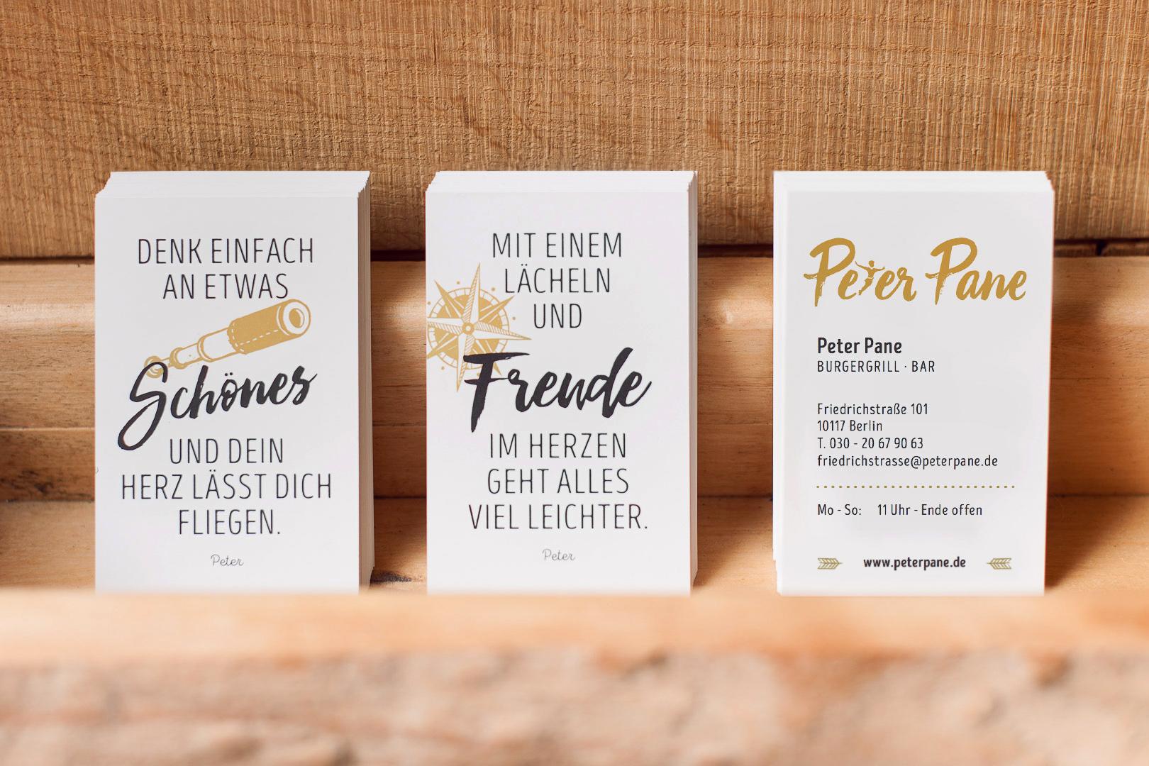 Visitenkarten für die Restaurants des Peter Pane Burgergrill und Bar