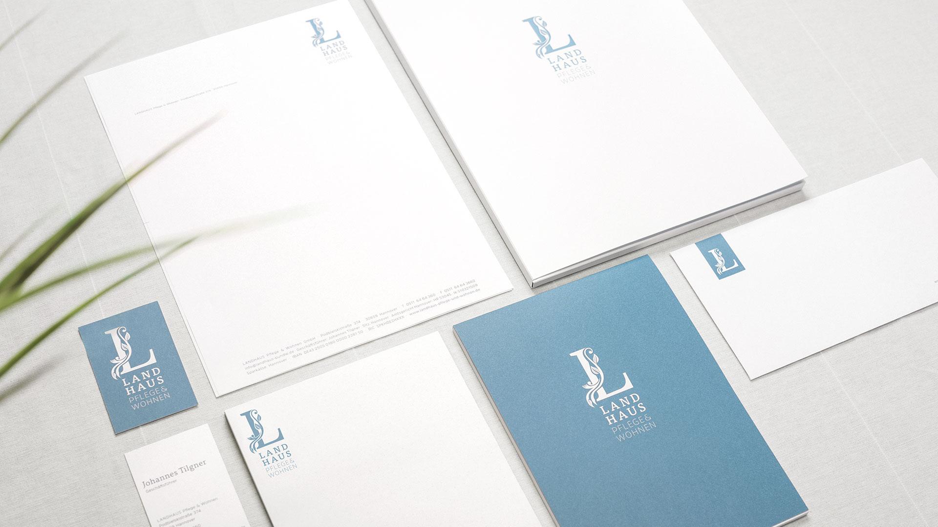Visitenkarten und Briefpapier im Corporate Design Pflegeheim Landhaus Pflege und Wohnen Hannover