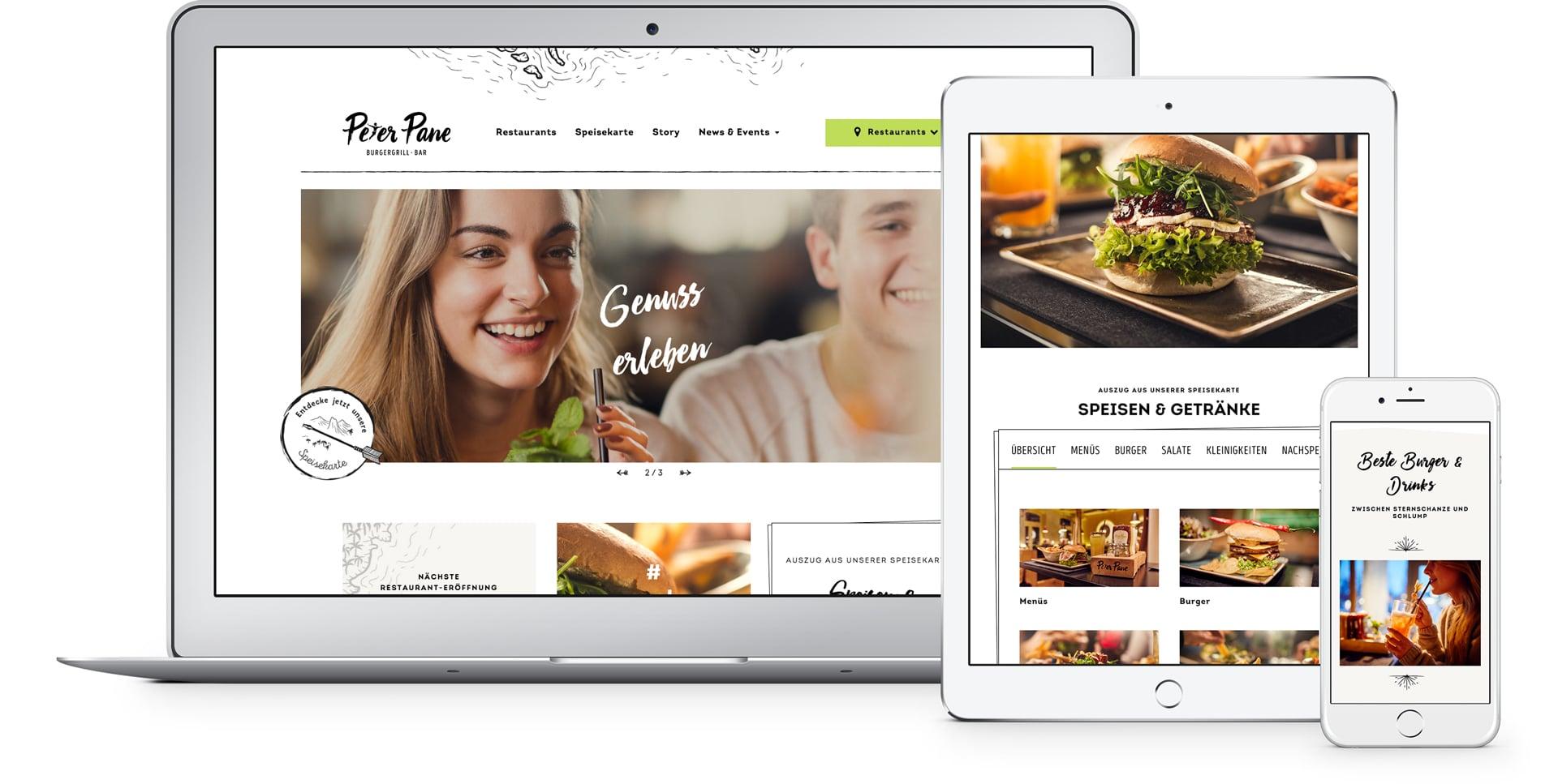 Darstellung der Website von Peter Pane Burgergrill und Bar auf verschiedenen Geräten