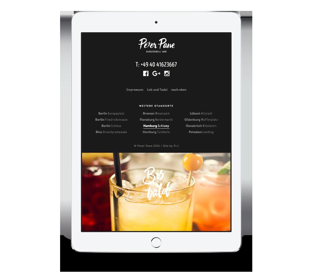 Footer auf der mobile Website von Peter Pane auf einem iPad Hochformat, entwickelt von Redeleit und Junker