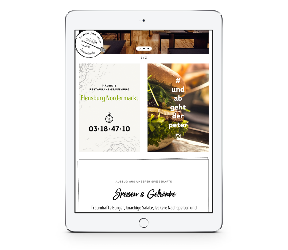 Webdesign mobile von Peter Pane auf einem iPad Hochformat, entwickelt von Redeleit und Junker