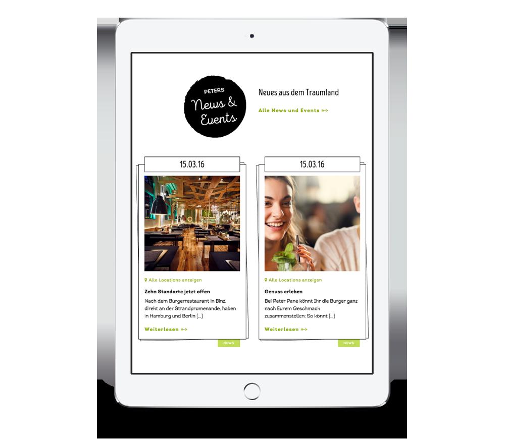 News & Events auf der Website von Peter Pane mobile auf einem iPad Hochformat, entwickelt von Redeleit und Junker