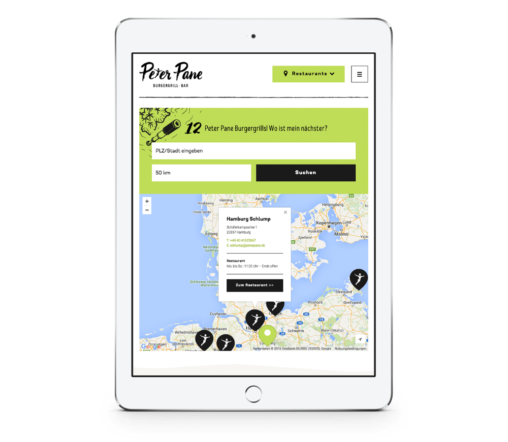 Filialfinder auf der Website von Peter Pane mobile auf einem iPad Hochformat, entwickelt von Redeleit und Junker