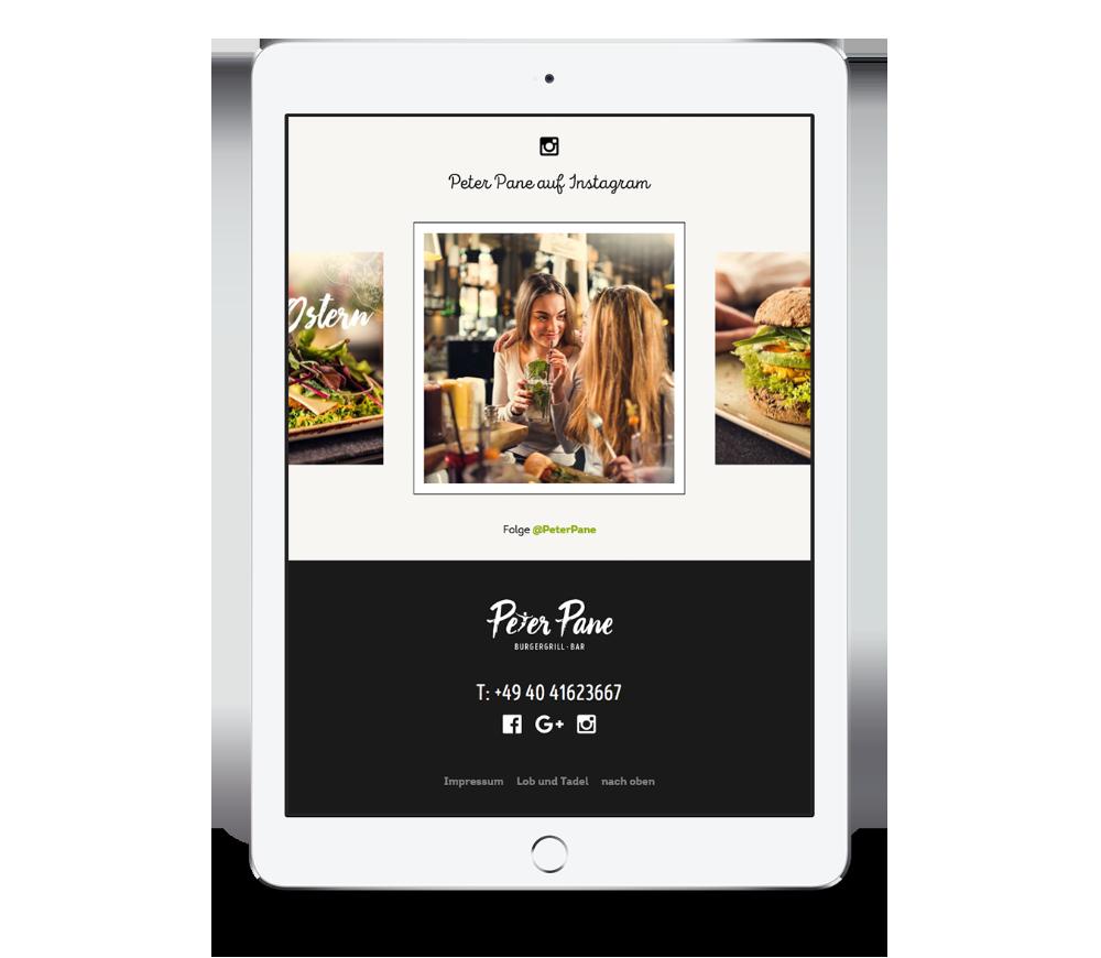Instagram Feed auf der Website von Peter Pane mobile auf einem iPad Hochformat, entwickelt von Redeleit und Junker