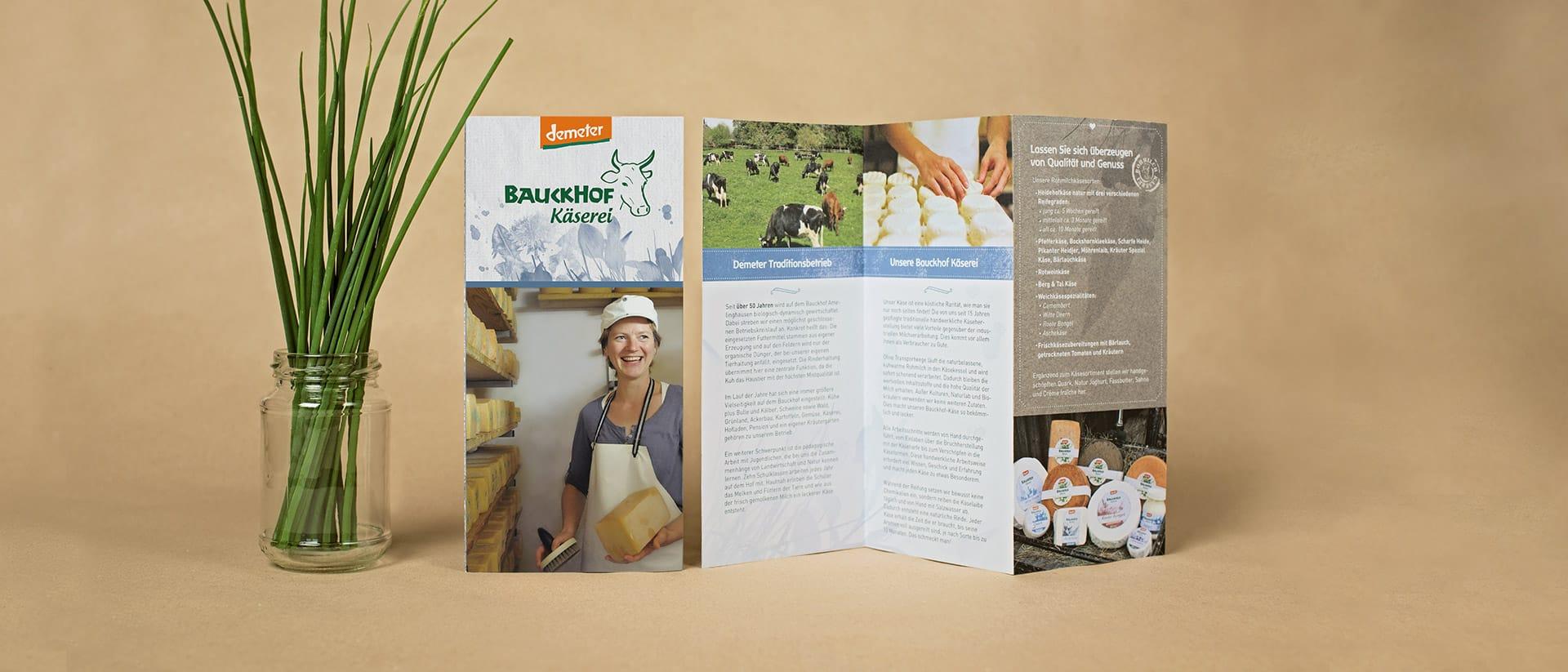 Käsereiflyer vom Bauckhof Printdesign von Redeleit und Junker