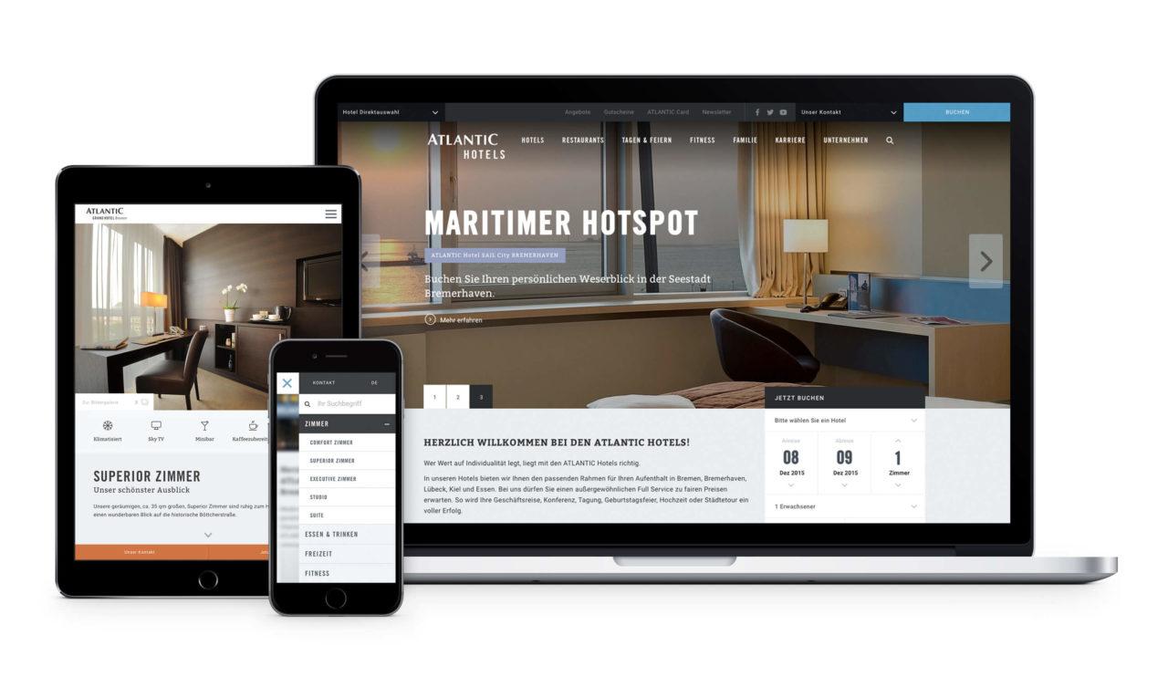 Atlantic Hotels Website von Redeleit und Junker