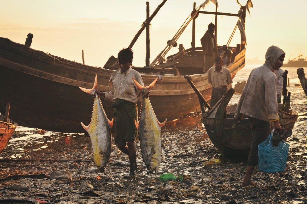 Junge zwei Fische Strand Fotostory von Redeleit und Junker