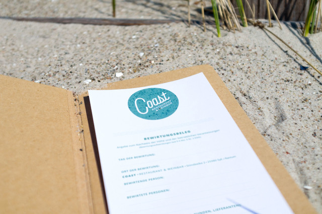 Von Redeleit und Junker designter Bewirtungsbeleg des Restaurant Coast in Rantum auf Sylt