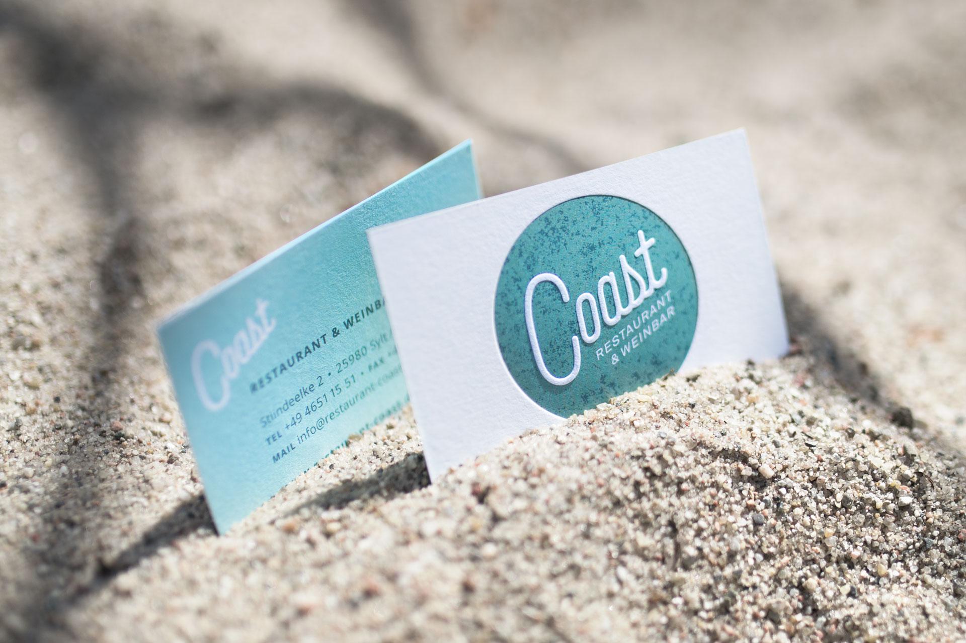 Visitenkarten des Restaurant Coast im Sand