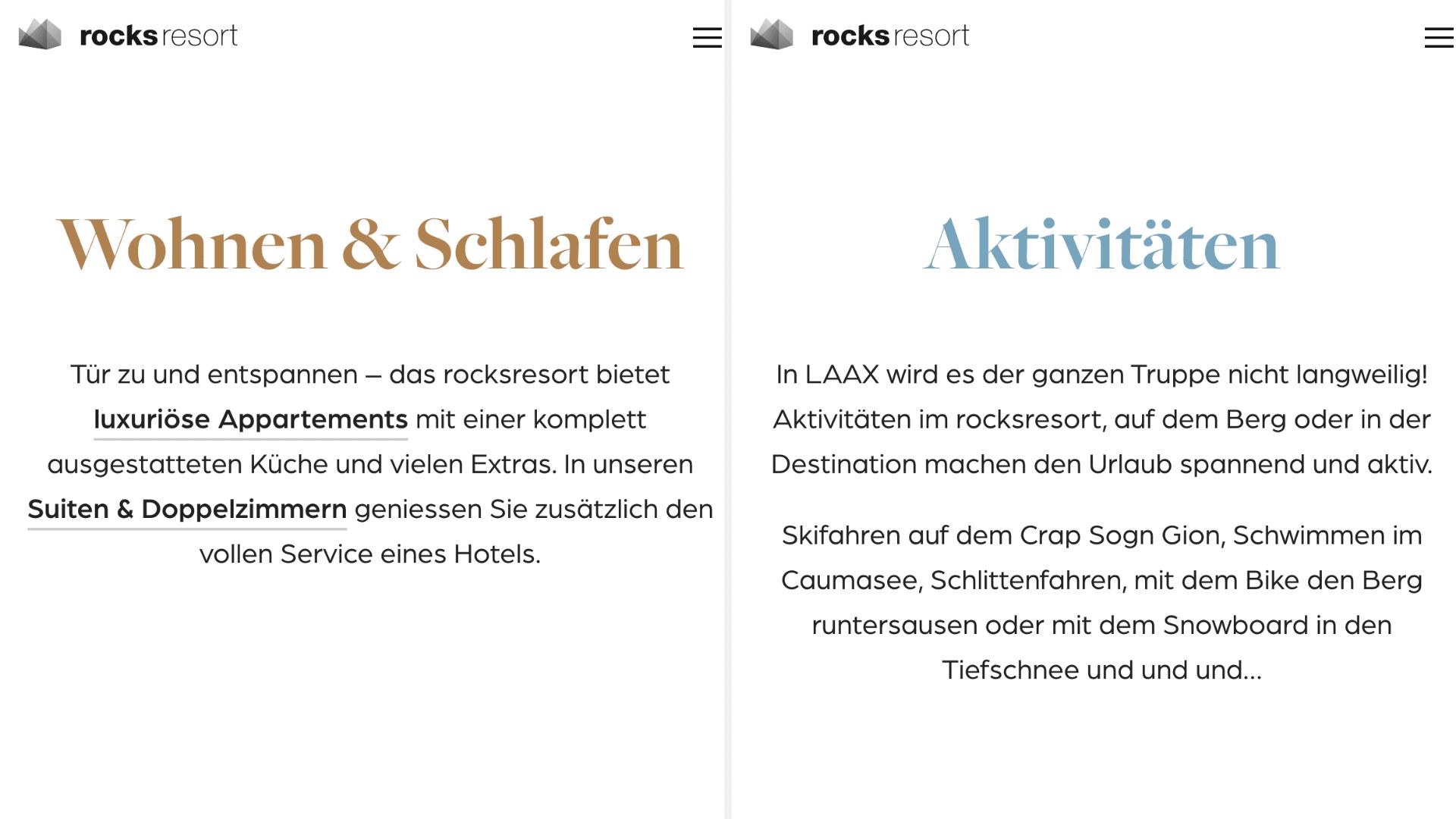 rocks resort als Beispiel für einfaches Design durch die Webdesign Agentur Redeleit und Junker