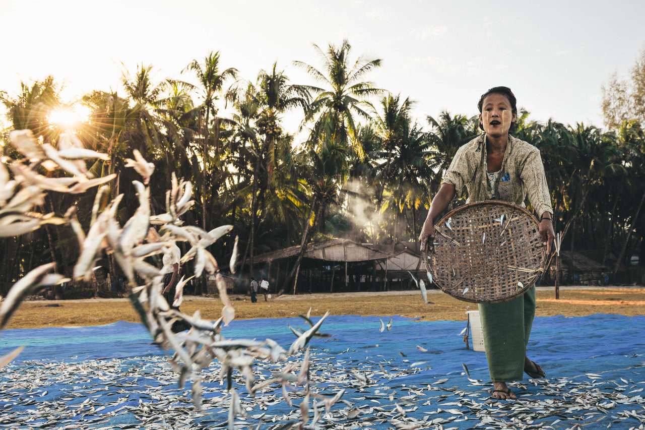 Frau trocknet Fische auf Netz Fotostory von Redeleit und Junker