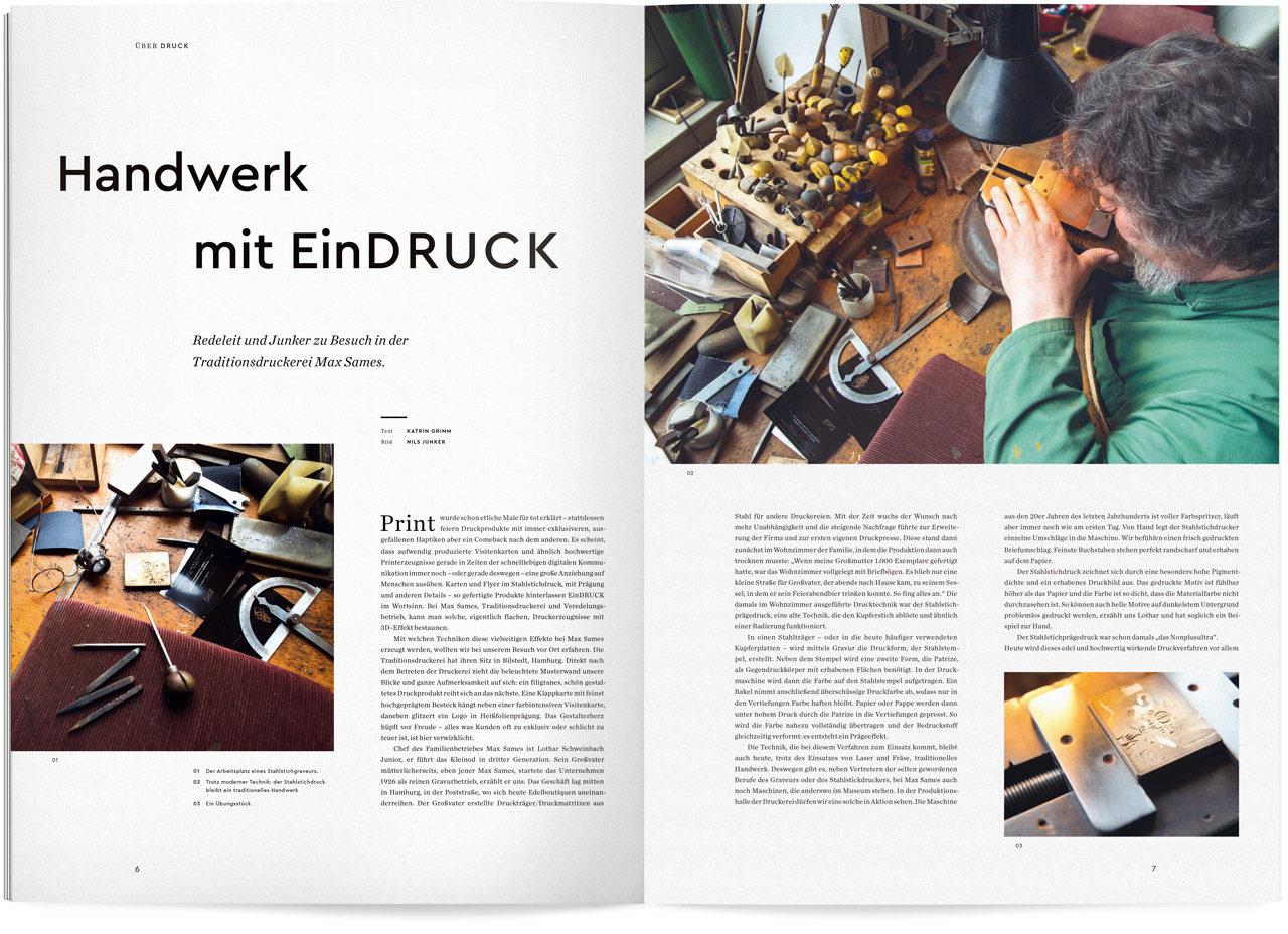 Auszug aus dem Ueber Magazin Druck No 9 zum Thema Handwerk